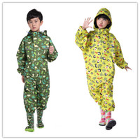 Wholesale Boy Raincoats - Kids Cartoon One Piece Rainsuit Boys Girls hooded Raincoat Jumpsuit Children Elephant Dinosaur patterns one piece rainsuit Kids Raincoat