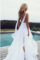 Wholesale Simple Flowing Wedding Dresses - 2017 Beach Wedding Dresses Thigh-High Slits beautiful lace bodice with artfully hand-cut lace and drapes of chiffon flowing Bride Gown