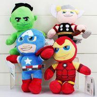 Wholesale Iron Man Anime - 4Pcs Lot 20cm The Avengers Plush The Hulk Thor Captain America Iron Man Stuffed Plush Toys Stuffed Soft Dolls Great Gift