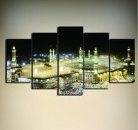 Wholesale Islamic Abstract Wall Painting - Mosque Painting On Canvas Unframed 5 Pieces Modern Islamic Muslim Poster Wall Picture Printed For Living Room Home Decor