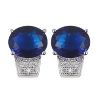 Wholesale wholesale 925 sterling silver reviews online - 925 sterling silver Favourite Earrings Promotion S Dark Blue Cubic Zirconia Best Sellers The new product Christmas gift Rave reviews