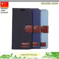 Wholesale Note Jeans - Denim Lines Jeans Stand Leather Case for Samsung Galaxy S5 S6 S6 Edge S7 S7 Edge Note 3 Note 4 Note 5