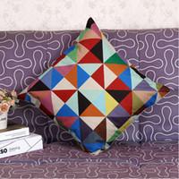 Wholesale Cheap Cotton Throws - Home Decorative Pillows for Sofa Geometric Handmade Cheap Square Cotton Linen Throw Pillow Cushion Cover 45x45cm