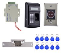 Wholesale rfid door lock kit - Wholesale- Strike Door Lock +Power Supply+3000 Users LCD Fingerprint 125KHz RFID ID Card Reader Door Lock Fingerprint Access Control Kit