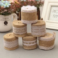Wholesale Lace Tape Roll - 2M Jute Burlap Hessian Ribbon with Lace Trims Tape Roll Vintage Rustic Mariage Wedding Cake Topper Ribbon Crafts JM0238