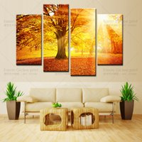 Wholesale Golden Forest - Drop Shipping HD Prints Canvas Painting Home Decor Wall Art Picture-Sunset Golden Forest landscape canvas prints living room wall pictures