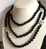 Wholesale bracelets rings necklaces resale online - 2016 hot buy pearl jade bracelet ring earring necklace Pendant gt gt gt NEW Top Long beautiful mm Black Agate jade necklace quot