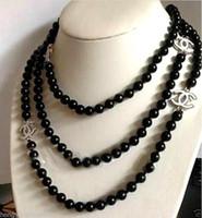hermoso anillo nuevo al por mayor-2016 hot buy pearl jade pulsera anillo pendiente collar colgante NUEVO Top largo hermosa 8mm Black Agate collar de jade 60