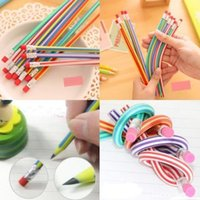 Wholesale Wholesale Boy Erasers - Baby Kids Girls Boys Colorful Magic Bendy Flexible Soft Bendable Pencil Pen With Eraser Christmas Birthday Writing Gift