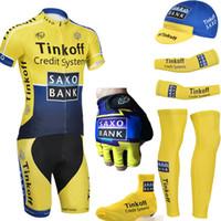 Wholesale Team Saxo Bank Shirt - Free Shipping Team SAXO BANK cycling jersey bibs shorts thinkoff yellow bicycling clothing with bike sleeves warmers and sports gloves
