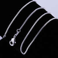 Wholesale Rhinestone Peridot - Fashion Jewelry Silver Chain 925 Necklace Box Chain for Women 1mm 16 18 20 22 24 inch