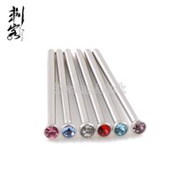 Wholesale Wholesale Nose Pins - Free Shipping Wholesale 18 Gauge Body Jewelry Surgical Steel Gem Fishtail Nose Pin U Bend Nose Pin