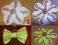 Cheap Pony Tails Holder softball hair bows Best yellow white South American Softball Flower Pony