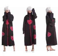 Wholesale Naruto Itachi Cosplay Full - HNew Fashion Unisex Cosplay Costumes Japan Anime Naruto Itachi Akatsuki Cosplay Robes Cloak Party Costumes