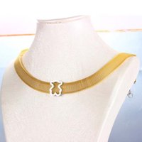 Wholesale Mesh Gold Necklace - New design Stainless Gold Silver Black tail Mesh chain necklace women jewelry Joyas de acero inoxidable oso