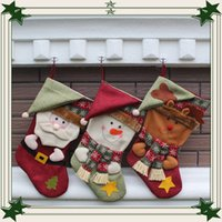 Wholesale Three Dimensional Christmas Stockings - 2016 Christmas decorations Santa Claus large snowman stockings 23.5*27*45.5cm three-dimensional Christmas stocking Christmas gift bags