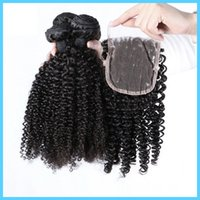 Livraison fermeture Lace année 8A Malaysian Vierge Cheveux Tissage Remy Hair Extensions Malaysian Kinky Curly Hair Avec Natural Color gratuit