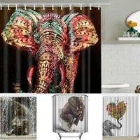 Wholesale Animal Print Shower Curtain - Elephant Shower Curtain Bathroom Curtain Waterproof Polyester Animal Digital Printed Shower Curtains With Hooks 165*180cm LJJK771
