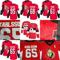 Wholesale Ottawa Hockey - 2018 100 Classic 65 Erik Karlsson 95 Matt Duchene 61 Mark Stone 68 Mike Hoffman 41 Anderson Mens Ottawa Senators Hockey Jerseys Stiched