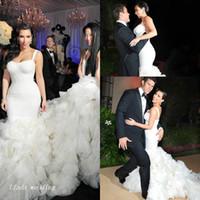 Wholesale Kim Kardashian Formal Dresses - Luxury Kim Kardashian Wedding Dresses Sexy High Quality Mermaid Organza Ruffle Formal Long Bridal Party Gowns