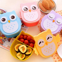 Wholesale Plastic Fruit Dish - 2016 New 2 Layer Cartoon Owl Lunchbox Bento Lunch Box Food Fruit Storage Container Plastic Lunch box Microwave Cutlery Set Children Gift