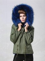 Wholesale Womens Jackets Real Fur - Mr & Mrs Italy Womens Fur-Trimmed Parka with Raooccn fur collar real rabbit fur linling Ladies jacket in green
