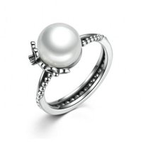 Wholesale jewelry cultured black pearls - 2017 Summer New 925 Sterling Silver Floral Ring with White Freshwater Cultured Pearl CZ & Black Enamel Fits European Jewelry BF377