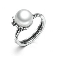 anillo de perlas negro plata esterlina al por mayor-2017 Verano nuevo anillo floral de plata esterlina 925 con perla blanca cultivada de agua dulce cristal negro esmalte se adapta a la joyería europea BF377