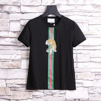Wholesale Hot Modal Male - NEW Hot Sale T-Shirt Men Shortsleeve Stretch Cotton Jersery Tee Men's Embroidery Tiger Printed Bird Snake Crew Collar Casual Tops Male
