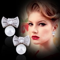 Wholesale Large Pearl Bows - Hot Selling High-End Fashion 925 Sterling Silver Earrings Hypoallergenic Earrings Large Pearl Bow Lovely Sweet Girl