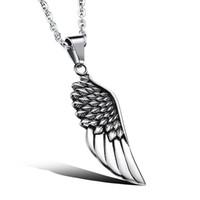 mens feder hängende halskette großhandel-Mode Vintage Mens Womens Edelstahl Feather Wing Cool Anhänger Halskette Schmuck Geschenk für Männer 19,6 Zoll