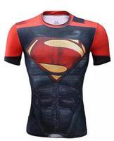 Wholesale Batman Superman Shirts - 2016 Super Heroes superman Batman Captain America Transformers short T shirts Avenger 3D breathable tights Gym fitness