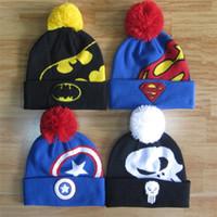 Wholesale Superman Cap Men - Fashion Bonnet Autumn Winter Hero Men Beanies Cap Batman Superman Knitted Hat Captain America Knit Hats Women Gorros Pom-pom Ski Hat
