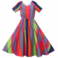 Wholesale Date Night Dresses - Women Dress 2016 Bohemian V-Neck Ball Gown Striped Colorful Vintage Club Beach Casual Party Dating Night Street Dresses
