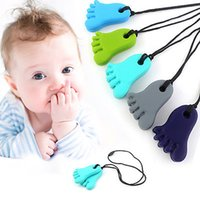 Wholesale Baby Feet Jewelry - Cute Baby Teether Silicone Feet Teether Pendant Bead Baby Nursing Necklace BPA Free Food Grade Silicone Teething Necklace Chewable Jewelry