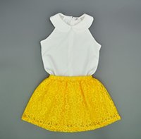 Wholesale Coats Chinese Collars - Retai Baby girl clothes sets summer style children chiffon shirt tops + yellow lace skirts for girls 2pcs suits kids clothing