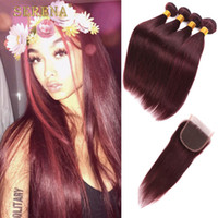 Wholesale Dark Wine Color Hair - 99J Red Peruvian Straight human hair extension 4 Bundles Dark Wine Red Color Peruvian virgin hair burgundy weave With Closure lace closure