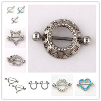 Wholesale Nipple Pearl - Mix 10styles Rhinestone Body Piercing Navel Belly Button Ring heart arrow snake 316L allergic Medical C024