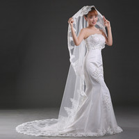 Wholesale wedding veils for muslims resale online - 216 New Arrival Bridal Veil With No Comb For Vintage Wedding Appliques In Stock Cheap Under Bridal Accessories Veil