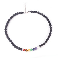 Wholesale Good Heal - New 8MM Lava-rock Beads Necklace 7 Reiki Chakra Healing Balance Bead Necklaces Women Fashion Yogo Jewelry Good Gift