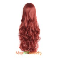 Wholesale Long Curly Red Orange Wig - ladies New 32 Inches Long Red+Orange Cosplay Ladies' Curly 80cm (NWG0CP60817-RF2) wig 80cm