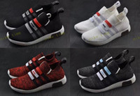 Wholesale Stock Brand Shoes - 2017 New NMD Omega Nmds Runner Primeknit Running Shoes Sport Women Men Shoe Air Brand Sneaker Black White Red NMD R1 City Stock