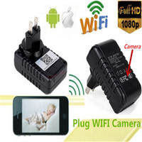 Wholesale 32GB WIFI IP Cam HD P SPY Hidden Wall Charger Camera Adapter DVR Video Recorders Camera