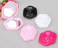 Wholesale Compact Stereos - Makeup Mirror Color Pink Retro Rose Flower Shape Cosmetic Makeup Compact Mirror 3D Stereo Double Sided 100pcs lot