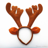 Wholesale Wholesale Antler Headbands - 10pcs lot Reindeer Antler Headband Christmas Cosplay Party Deer child Adult Hair Wear X'mas Decoration Santa HX414