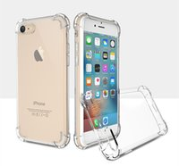 Wholesale super transparent - Super Anti-knock TPU Transparent Clear Protect Cover Four Angle Shockproof transparent Soft Cases for Iphone 5 6 6s plus 7 7 plus