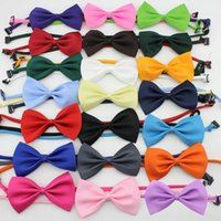 Wholesale Wholesale Bow Ties Cheap - cheap bowtie gentleman men's solid color wedding party imitation silk bow ties fashion bowknot men's accessories cravat L88