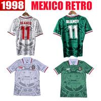 Wholesale Football Shirt Logos - 1998 MEXICO RETRO VINTAGE BLANCO Thailand Quality Soccer Jerseys Uniforms Football Jerseys BLANCO Embroidery Logo Camiseta Futbol Shirt