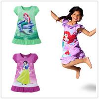 Wholesale Short Blue Skirt Cartoon - Summer Girls Dress Kids Clothes Leisure Wear Children Short Sleeve Mermaid Snow White Frozen Princess Night Skirt Cartoon Pink Green Purple