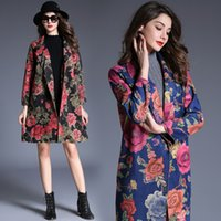 Wholesale European Trench - Trench coat for women's European and American autumn and winter tide new deer velvet coat windbreaker printing lapel long sleeve coat
